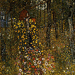 Cottage Garden with Crucifix, Gustav Klimt