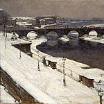 Seen Elbe and Augustus Bridge in winter by the Br