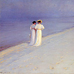 Summer Evening on the Skagen Southern Beach with Anna Ancher and Marie Kroyer, Anna Ancher