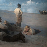 Vilhelm Hammershoi - Summer Evening on the Beach at Skagen