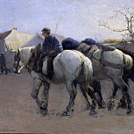 French Village Street with Horses