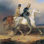 Friedrich Simmler - Prince Wilhelm on Horseback Accompanied by the Artist