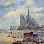 Albert-Charles Lebourg - Notre Dame de Paris and the Bridge of the Archeveche