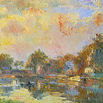 Albert-Charles Lebourg - The Banks of the Canal at Charenton Sunny Autumn Afternoon