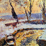 Albert-Charles Lebourg - Snow at sunset
