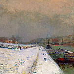 Albert-Charles Lebourg - The Port of Bercy in Winter Snow Effect