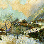 Albert-Charles Lebourg - The Banks of Lake Geneva at Saint Gingolph in winter with Snowy Weather