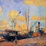 Albert-Charles Lebourg - Steamers and Barges in the Port of Rouen Sunset