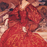 George Lambert - Sybil Walker in Red and Gold Dress