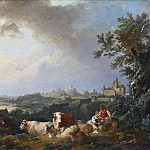 Philip James de Loutherbourg - Landscape with Resting Cattle