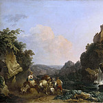 Philip James de Loutherbourg - Landscape with Waterfall, Castle and Peasants