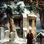 Theodore Gudin - Cloister Cemetery in the Snow