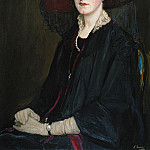 Sir John Lavery - Portait of Lady Raeburn, seated half length, in a Lace Collared Jacket