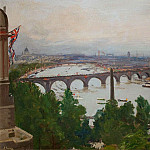 Sir John Lavery - The River Pageant, as seen from the home of Sir James Barries, Adelphi Terrace London