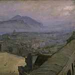 Sir John Lavery - A View of Edinburgh from the Castle looking across the Esplanade towards Arthurs Seat