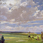 Sir John Lavery - Lady Astor playing golf at North Berwick