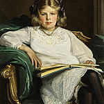 Sir John Lavery - Portrait of Betty, three-quarter length seated, reading a Book