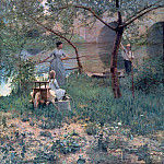Sir John Lavery - Under the Cherry Tree, the Bridge at Grez