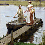 An apple for the boatman, Edmund Blair Leighton