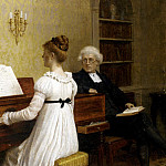 Edmund Blair Leighton - The Piano Lesson
