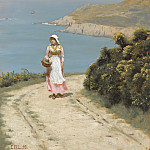 Girl On A Coastal Path, Edmund Blair Leighton