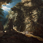 Wooded Mountain Landscape with Waterfall and Travellers