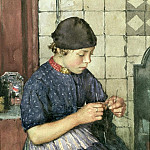 Walter Langley - Girl Knitting
