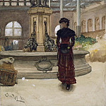 Walter Langley - Old Market Hall and Fountain, Birmingham