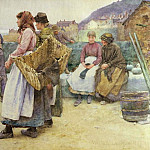 Walter Langley - In a Cornish Fishing Village: Departure of the Fleet for the North