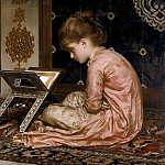 Study an illuminated manuscript at a reading desk, Frederick Leighton