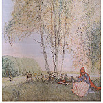Carl Larsson - 1902 Under the Birches watercolor