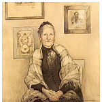 Carl Larsson - Mi madre watercolour 1893