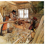 Carl Larsson - 1905 In the Carpenter Shop watercolor