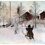 Carl Larsson - 1894-97 The Front Yard and the Wash House watercolor