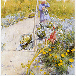 Carl Larsson - En la huerta-jardin watercolor 1883