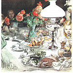 Carl Larsson - l1900 Around the lamp at evening watercolor