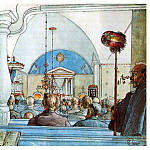 Carl Larsson - 1905 At Church watercolor