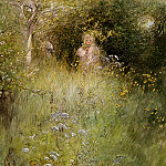 Carl Larsson - A Fairy Or Kersti And A View Of A Meadow