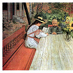Carl Larsson - 1903 The first Lesson oil