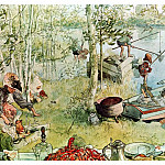 Carl Larsson - 1894-97 The Crayfish Season Opens watercolor