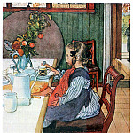 Carl Larsson - 1900 A Late-Risers Miserable Breakfast watercolor