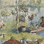 Carl Larsson - Crayfishing. From A Home
