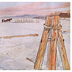 Carl Larsson - 1905 Harvesting Ice watercolor