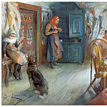 Carl Larsson - Interior campesino en invierno watercolor 1890