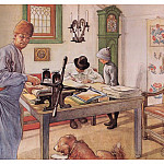 Carl Larsson - 1910 Where I do my Etching watercolor