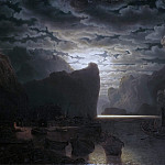 Norwegian Fjord in Moonlight. Motif from the Sogne-Fjord