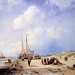 Charles Henri Joseph Leickert - Coastal scene with fisherfolk