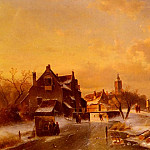 Charles Henri Joseph Leickert - Winter And Summer Canal Scenes-Scene 1
