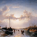 Charles Henri Joseph Leickert - River scene in winter