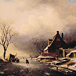 Charles Henri Joseph Leickert - Winter Scene with Skaters